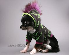 Mohawk SMALL Dog Clothes Invader zim Gir dog  hoodie