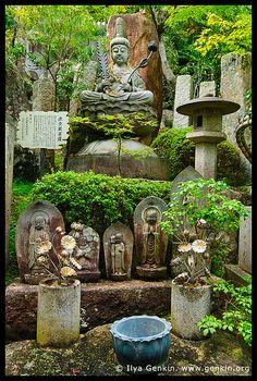 God Statues in a Garden, Daisho-in Temple, Miyajima, Honshu, Japan