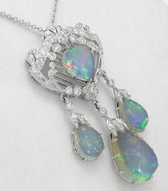 Art Deco Style 11.31ct Opal 0.99ct Diamond 14k Gold Pendant