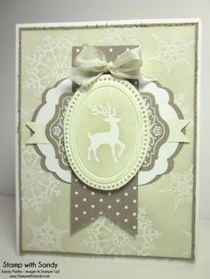 Stampin' Up! ... handmade Christmas/winter card ...  vanilla, milik chocolate and mint ... stag image for the focal point ... great use of layered die cuts to create a medallion ... sponging over clear embossing ... luv it!