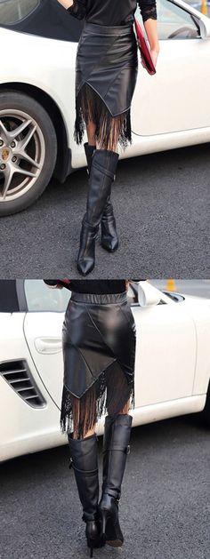 Black Asymmetric Fringe Hem PU Pencil Skirt