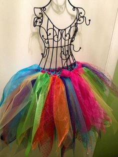 Beautiful skirt, done in tutu style with every color of the rainbow, so it will match everything! Great for Halloween!!!