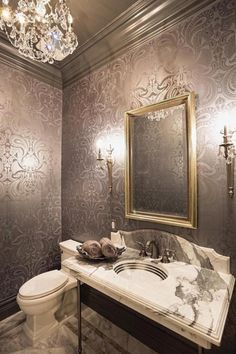 Rich Cole And Sonu0027s Malabar Wallpaper Steals The Show In This Dashing  Powder Room [Design: Jennifer Bevan Interiors]