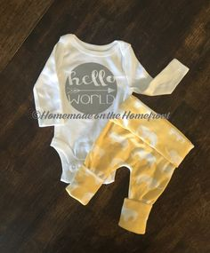 Hello world newborn coming home outfit, elephants, newborn girls, newborn boys, gender neutral