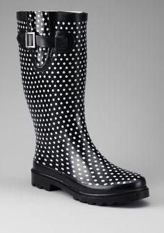 Black Polka Dot Rain Boot