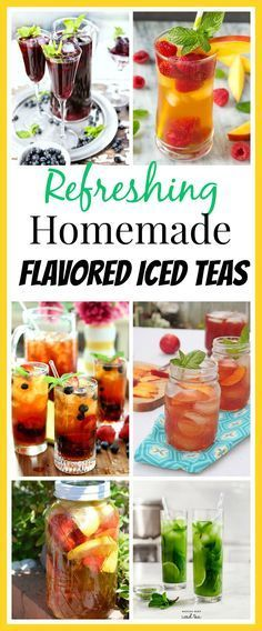 10 Refreshing Flavored Ice Tea Recipes-Sipping some ice cold tea is one way to beat the heat of summer! Need some new ideas for cold refreshing flavored ice tea recipes? You have to give these tea recipes a try if you're used to just having plain iced tea Sun Tea Recipes, Fruit Tea Recipes, Sweet Tea Recipes, Fruit Drinks, Water Recipes, Yummy Drinks, Healthy Drinks, Beverages, Cold Drinks