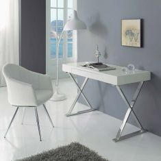 Modern study desk with a high gloss white finish top with a storage drawer and cross chrome legs Bureau Design, Home Office, Office Desk, Study Desk, White Desks, Design Moderne, Diy Table, Home Furniture, Home Goods