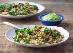 Nutty Pea & Quinoa Bowl - with sautéed zucchini & kale and crunchy tamarin almonds | deliciously ella