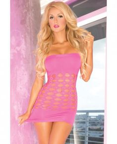 Sexy seamless dress shows some skin, while covering just enough to keep you legal from Pink Lipstick. Color Pink. One size fits most. Bust 31 inches to 37 inches. Waist 23 inches to 29 inches. Hips 33 inches to 39 inches. B/C Cups. Dress sizes 4 to 12.