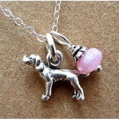 Pointer Glass Bead Sterling Silver Necklace, Dog Park Publishing