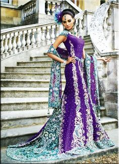 Stunning Purple & Blue Bridal Lengha--ok I wouldn't go quite this ethnic (though I do love Indian style), but the purple and blue and silver are awesome.