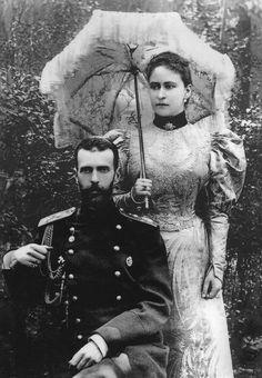 Grand Duke Sergei Alexandrovich Romanov (11 May 1857–17 Feb 1905) Russia with wife holding umbrella Grand Duchess Elisabeth-Elizabeth (Elisabeth Alexandra Louise Alice) (Elizabeth Feodorovna) (1 Nov 1864-18 Jul 1918) Hesse, Germany.