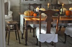 NINE + SIXTEEN: A Few Autumn Touches in Our Home - scalloped seat slips