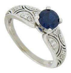 Antique Style 14K Sapphire & Diamond Engagement Ring