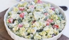 Brokkolisalat mit saurer Sahne A delicious salad that you can eat during a diet. Roast Recipes, Salad Recipes, Cooking Recipes, Healthy Recipes, Cucumber Tomato Salad, Broccoli Salad, Lunch To Go, Daily Meals, Cooking Light