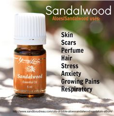 An oil used since ancient days, Sandalwood (Aloes) Young Living Essential Oil can help with sleep, skin, UTI, scars, stress & respiratory issues. To order: www.youngliving.org/ambermoore