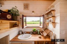 The kitchen of the Odyssey tiny house