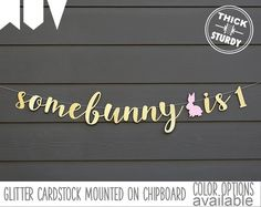 some bunny is one banner, 1st birthday banner, bunny theme, gold glitter party decorations, cursive banner, BUN002 by PARTYsimplified on Etsy https://www.etsy.com/listing/510087733/some-bunny-is-one-banner-1st-birthday