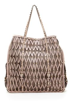 Designers We Love Valentino Leather Caged Stud Trim Tote