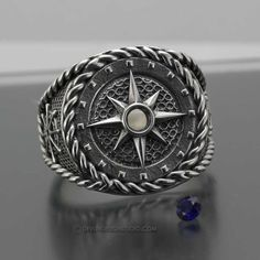 Custom Made Men's Compass Ring, Nautical Ring
