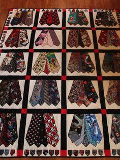 Memory quilt of men's ties Full size quilt of men's