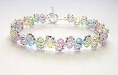 Pastel rainbow bracelet swarovski bracelet by BuzzybeeBeading, £13.00