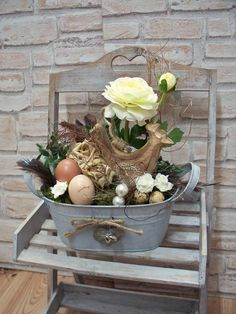 Ostergesteck in Zinkwanne,creme-braun-natur von ...die mit den Blumen tanzt... auf DaWanda.com
