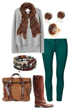 """""""Comfy grey sweater, teal skinny jeans brown boots."""" by myfabcloset ❤ liked on Polyvore featuring Dara Ettinger, rag & bone, Burberry, Oasis and MuuBaa"""