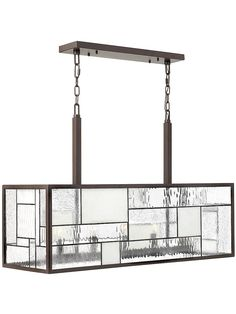 Mondrian horizontal pendant sits squarely over an island or dining table