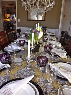 French Countryside water glass by Mikasa. Ranson salad plate by Haviland. Filagree dinner plate by Lenox. Arabella amethyst crystal by Ajka.
