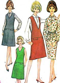 1960s Womens V Neck Jumper Dropped Waist Pinafore Dress Sleeve Blouse Drawstring Waist Dress Vintage Sewing Pattern McCalls 7409 Bust 32