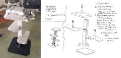 DIY Cat Tree plans - Materials cost $22 from hardware store. 3 hours of labor. Cat Tree Plans, Diy Cat Tree, Store 3, Custom Furniture, Hardware, Construction, How To Plan, Cats, Artwork