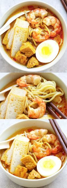 Laksa - Spicy street food noodle dish popular in Malaysia and Singapore. This homemade curry laksa recipe is so easy and delicious. Lobster Recipes, Seafood Recipes, Indian Food Recipes, Asian Recipes, Vegetarian Recipes, Healthy Recipes, Ethnic Recipes, Laksa Soup Recipes, Laksa Recipe