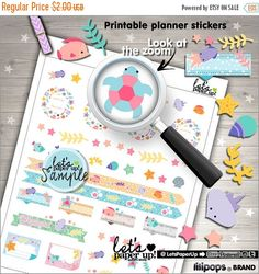 60%OFF - Sea Stickers, Printable Planner Stickers, Under the Sea Stickers, Kawaii Stickers, Erin Condren, Planner Accessories, Weekly Sticke