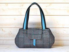 LA BOHEME Gray Herringbone Wool Chic French Shoulder bag