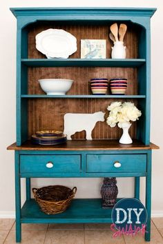 before & after: an outdated hutch goes cottage chic | cottage chic