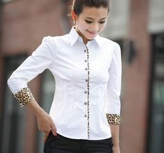 Leopard trim on white tailored blouse