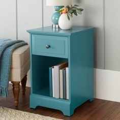 Teal Side Table End Night Stand Furniture Bedside Storage Wood Bedside Storage #10SpringStreetSavannah #Modern