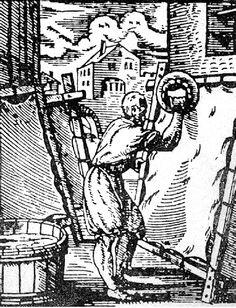 Ilustración de parte del proceso de preparación del pergamino para codices medievales. Tensado y limpieza de la piel.