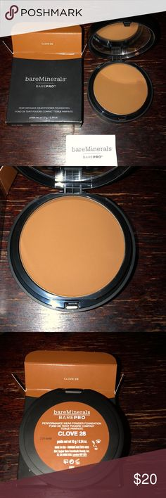 BARE-MINERALS PERFORMANCE POWDER FOUNDATION Bare minerals color CLOVE 28 buildable breathable long wear coverage new in box 📦 bareMinerals Makeup Foundation