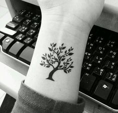 There are different kinds of tattoo designs chosen by men and women. Bodhi tree tattoo is a representation of Buddha enlightenment. Generally, tree tattoo d Cute Small Tattoos, Pretty Tattoos, Cute Tattoos, Beautiful Tattoos, New Tattoos, Body Art Tattoos, Tattoo Small, Small Tree Tattoos, Tree Of Life Tattoos