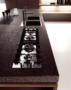 Walnut kitchen with island YARA 03 by Cesar Arredamenti | design Gian Vittorio Plazzogna