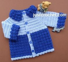 Free baby crochet pattern for boys jacket, but if you move buttonholes to opposite side and make in girl colours it is suitable for both. http://www.justcrochet.com/boys-jacket-usa.html #justcrochet patternsforcrochet