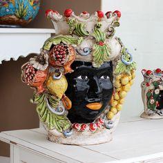 Teste Ceramica : Testa Ceramica Caltagirone Frutta Donna h.40