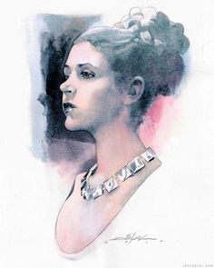 Princess Leia commission in watercolor. By Jeff Dekal