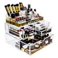 Cq acrylic Large 3 Tier Clear Acrylic Cosmetic Makeup Storage Cube Organizer with 3 Drawers. It Consists of 2 Separate Organizers, Each of Which Can be Used Individually - Cute Makeup Guide Hanging Makeup Organizer, Make Up Organizer, Makeup Storage Organization, Make Up Storage, Storage Ideas, Organization Skills, Office Organization, Cocoppa Wallpaper, Rangement Makeup