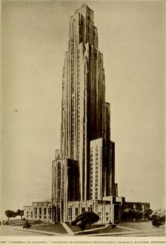 Projected view of the Cathedral of Learning at the University of Pittsburgh