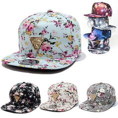 Men Women Floral Flower Snapback Hip-Hop Hat Flat Galaxy Adjustable Baseball Cap