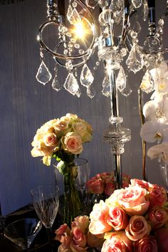 French Opulence Styling by Decor It Candelabra Centerpiece, Crystal Candelabra, Centerpieces, Wedding Lunch, Bling Wedding, Table Linens, Event Decor, Pink Roses, Melbourne