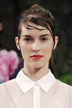 Wet hair is having a moment on the runway. The 6 best looks to try, including this sweaty side-sweep at Clover Canyon.